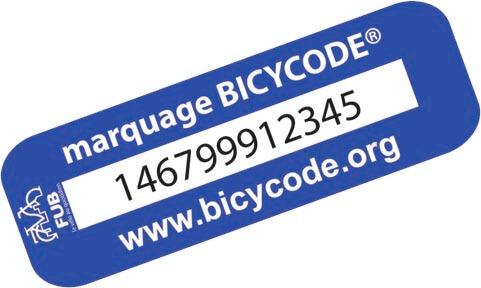 Le numéro unique d'un marquage bicycode