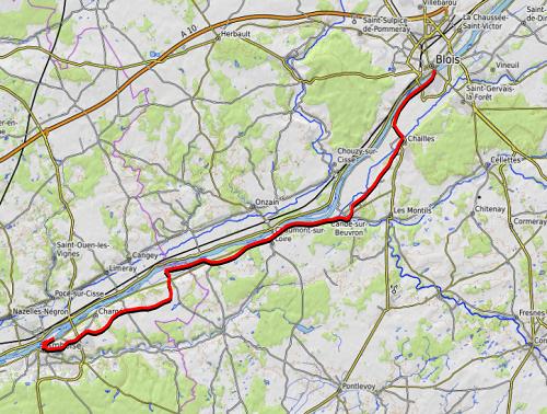trace GPS de ev6 amboise blois